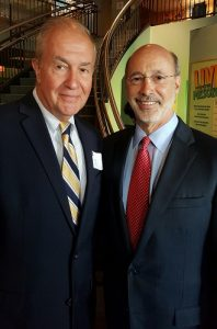 Joseph Lukach, CEO of Ralston Center with Pennsylvania Governor Tom Wolf discussing Ralston's Age-Friendly West Philadelphia Initiative