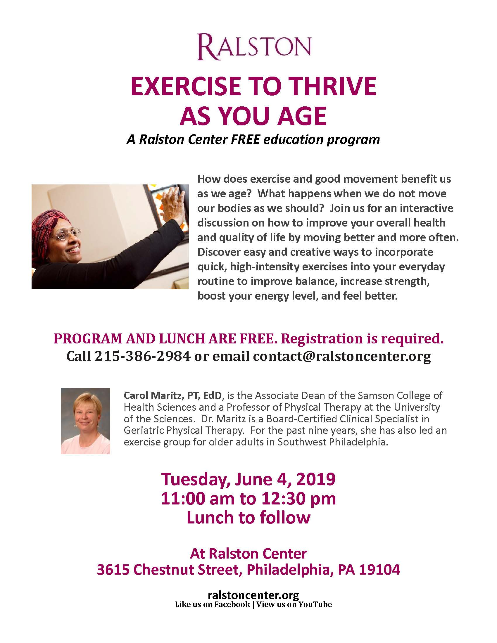 Exercise to thrive as you age – June 4, 2019 More »