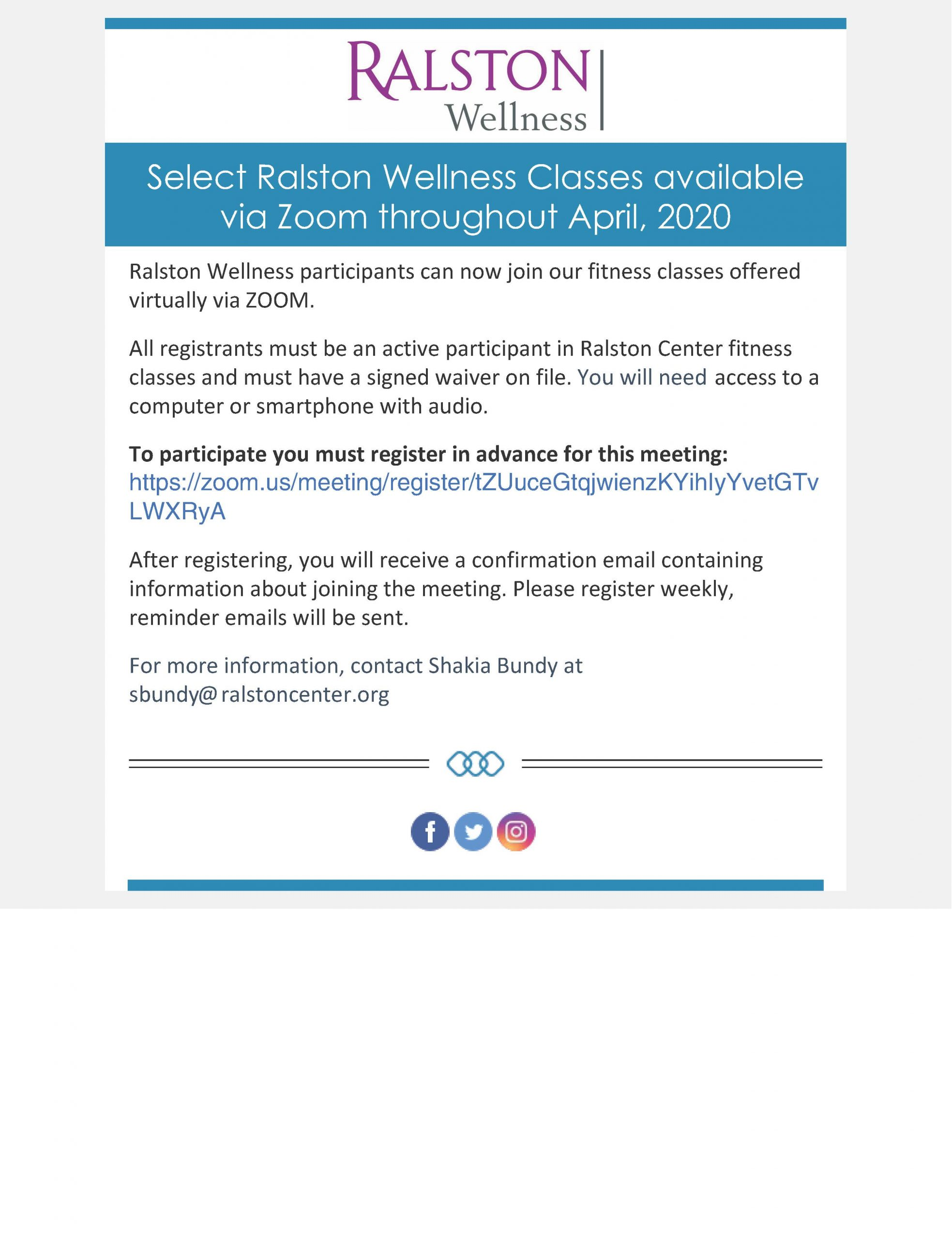 Ralston Wellness via Zoom