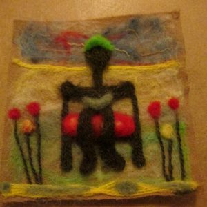 Frances Conwell – Needle Felting – Man on a Bench with Book